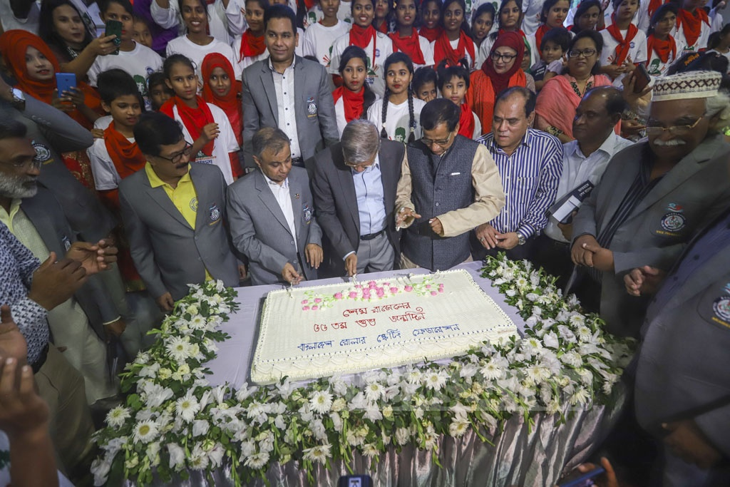 Guests cutting a cake at the Sheikh Russell Roller Skating Complex in Dhaka's Gulistan on Friday to mark the birthday of the youngest son of Bangabandhu Sheikh Mujibur Rahman, killed along with most other members of the family on Aug 15, 1975. Photo: Abdullah Al Momin