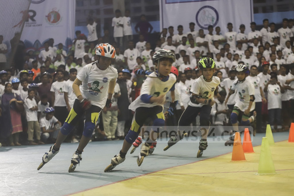 A skating show, photo exhibition, discussion and other events were organised at the Sheikh Russell Roller Skating Complex in Dhaka's Gulistan on Friday to mark the birthday of the youngest son of Bangabandhu Sheikh Mujibur Rahman, killed along with most other members of the family on Aug 15, 1975. Photo: Abdullah Al Momin