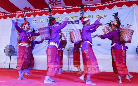 An event was held in Dhaka's Banani on Friday to celebrate Wangala, the hills festival of the Garo tribe marking harvest. Photo: Asif Mahmud Ove