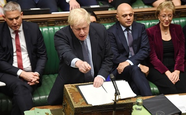 Britain's Prime Minister Boris Johnson speaks during a debate on Brexit, as parliament sits on a Saturday for the first time since the 1982 Falklands War, in London, Britain October 19, 2019. ©UK Parliament/Jessica Taylor/Handout via REUTERS