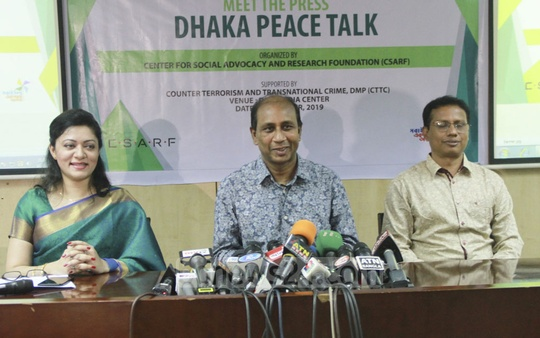 Police's counter-terrorism chief Monirul Islam addresses the media at Dhaka Peace Talk at the DMP Media Centre on Saturday.