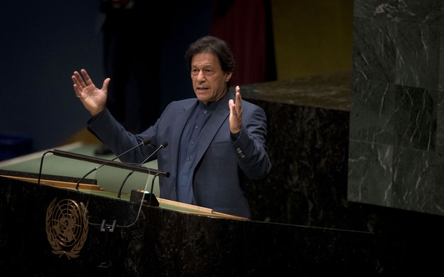 Prime Minister Imran Khan of Pakistan addresses the United Nations General Assembly at UN headquarters in New York, Sep 27, 2019. Pakistan escaped blacklist status and international sanctions from the world's top antiterrorism monitoring group on Oct 18, 2019, but received a harsh rebuke from the body for failing to adequately crack down on terrorism financing and money laundering. The New York Times