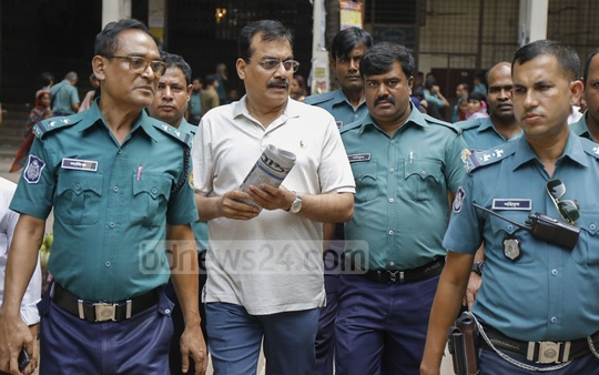 Police escorting BNP lawmaker Harunur Rashid to jail after a special judge court sentenced him to five years in prison for dodging taxes by using the duty exemption for MPs to import a luxury car and selling the vehicle later in breach of rules.