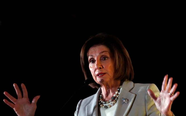 FILE PHOTO: US House Speaker Nancy Pelosi (D-CA) addresses the audience during the Democratic National Committee's (DNC) 2019 Women's Leadership Forum in Washington, US Oct 17, 2019. REUTERS/Carlos Jasso