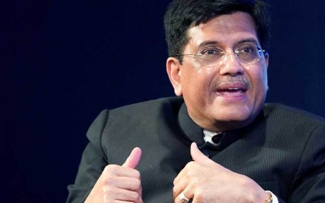 FILE PHOTO: Piyush Goyal, Minister of Railways and Coal of India, gestures as he speaks during the World Economic Forum (WEF) annual meeting in Davos, Switzerland, Jan 23, 2018. REUTERS/Denis Balibouse