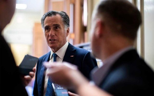 Sen Mitt Romney speaks to reporters on Capitol Hill in Washington on Wed, Oct16, 2019. The New York Times