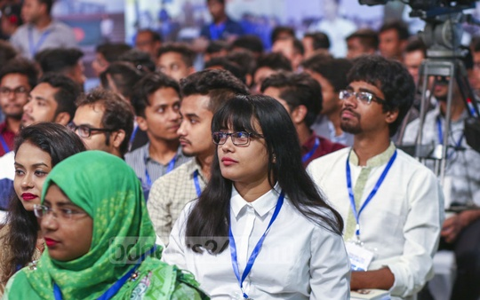 Youths atrtending the Young Bangla with Sajeeb Wazed, an event organised by Centre for Research and Information or CRI at a Dhaka hotel on Tuesday. Photo: Mahmud Zaman Ovi