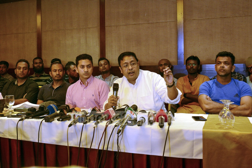 Mustafizur Rahman Khan, a spokesman for the cricketers, speaking at a media conference at a Dhaka hotel on Wednesday over the players' 13-point charter of demand.