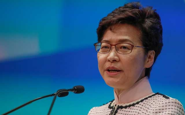 Hong Kong Chief Executive Carrie Lam holds a news conference after her policy address for 2019, in Hong Kong, China, October 16, 2019. REUTERS