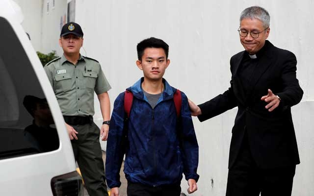 Chan Tong-kai, a Hong Kong citizen who was accused of murdering his girlfriend in Taiwan last year, leaves from Pik Uk Prison, in Hong Kong, China Oct 23, 2019. REUTERS