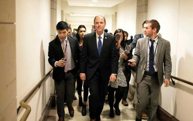 Congressman Adam Schiff (D-CA) leaves after a closed-door deposition from Deputy Assistant Secretary of Defense Laura Cooper as part of the US House of Representatives impeachment inquiry into US President Donald Trump on Capitol Hill in Washington, US, Oct 23, 2019. REUTERS/Yuri Gripas
