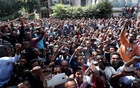 Oromo youth shout slogans outside Jawar Mohammed's house, an Oromo activist and leader of the Oromo protest in Addis Ababa, Ethiopia Oct 23, 2019. REUTERS