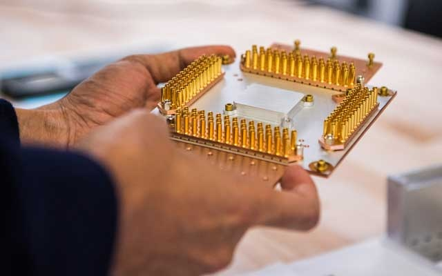"A photo provided by Google of a piece of hardware that is part of its quantum computer machine. Google said on Wednesday, Oct. 23, 2019, that it had achieved a long-sought breakthrough called ""quantum supremacy,"" which could allow new kinds of computers to do calculations at speeds that are inconceivable with today's technology. (Google via The New York Times)"