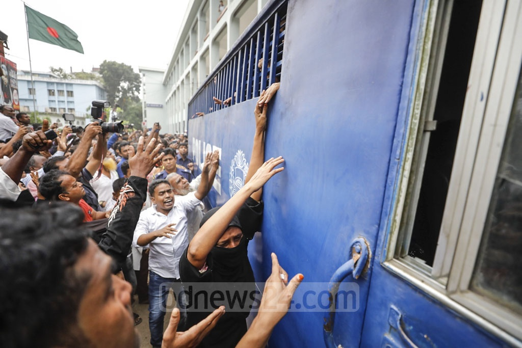 Wailing relatives trying to see the 16 Nusrat Jahan Rafi murder convicts while they were being taken away to jail by a prison van from the court that has sentenced them to death.