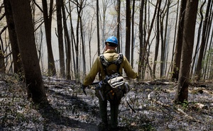 A prescribed burn is monitored on Brawley Mountain near Blue Ridge in northern Georgia, on Apr 23, 2019. The New York Times
