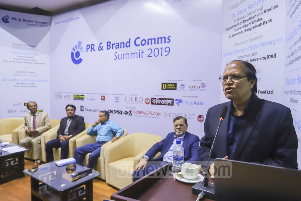 Former Bangladesh Bank chief Atiur Rahman addresses the inaugural 'PR and Brand Comms Summit 2019' at the capital's KIB auditorium on Saturday. Photo: Asif Mahmud Ove