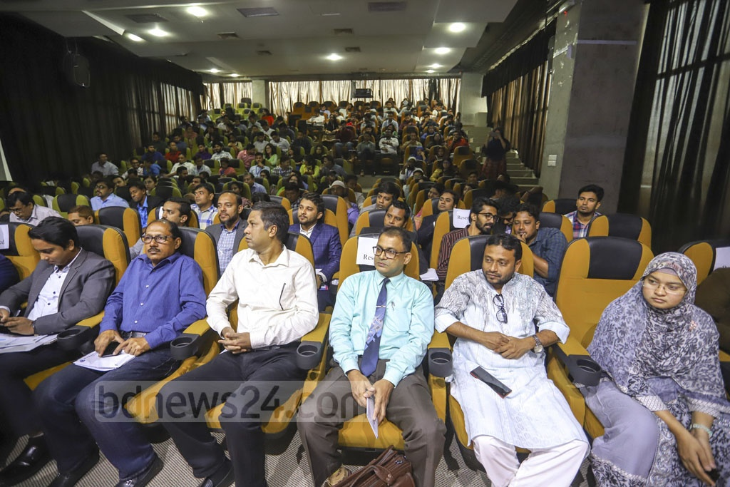 Participants listen to an address at the inaugural 'PR and Brand Comms Summit 2019' aimed at uplifting the skills of public relations, media management and brand communications strategies at the capital's KIB auditorium on Saturday. Photo: Asif Mahmud Ove