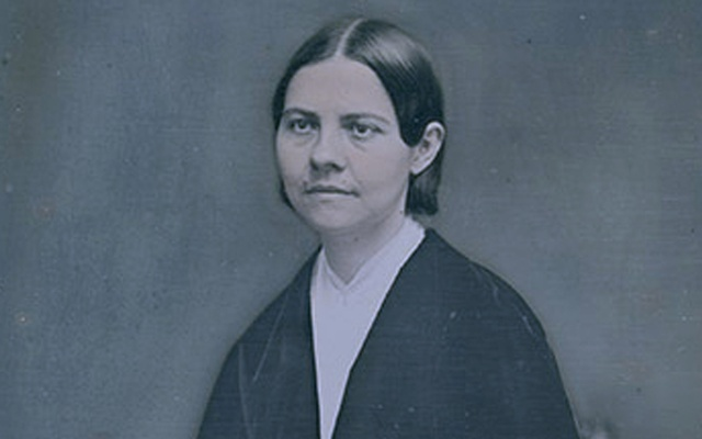 An image provided by the National Portrait Gallery shows a daguerreotype portrait of Lucy Stone by an unidentified artist, circa 1855. The daguerreotype is part of the National Portrait Gallery's exhibition