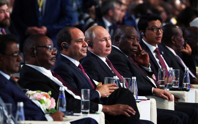 President Vladimir V Putin of Russia, centre, with his counterparts Abdel Fattah al-Sisi from Egypt, left, and Cyril Ramaphosa of South Africa at the Russia-Africa Summit in Sochi this month. The New York Times