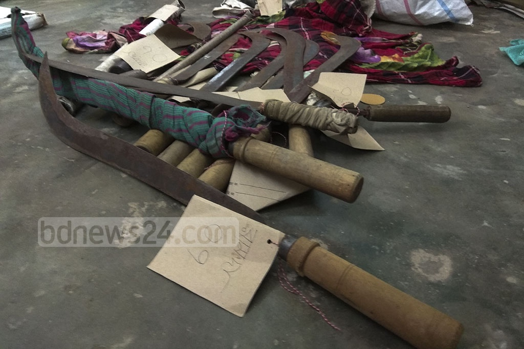 Workers of Dhaka University's Haji Muhammad Mohsin Hall found 10 machetes, two knives and several steel pipes while cleaning the rooftop of the residential hall on Wednesday.