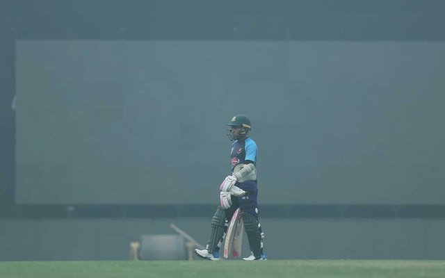 Bangladesh's Mushfiqur Rahim walks amidst smog after batting in the nets during a practice session ahead of their Twenty20 cricket match against India in New Delhi, India, October 31, 2019. Reuters