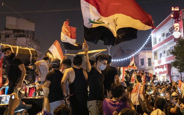 Protesters crowd the streets around Tahrir Square in Baghdad on Monday, Oct. 28, 2019. Enormous antigovernment demonstrations in Iraq and Lebanon, some tinged with hostility toward Iran, have suddenly put Iran's interests at risk. (Ivor Prickett/The New York Times)