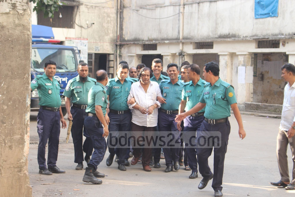 Police presented Moinul Haque Monju, a DSCC ward councillor, in court on Friday for permission to grill him in custody on charges related to recovery of illegal arms and drugs during a drive on his home and office