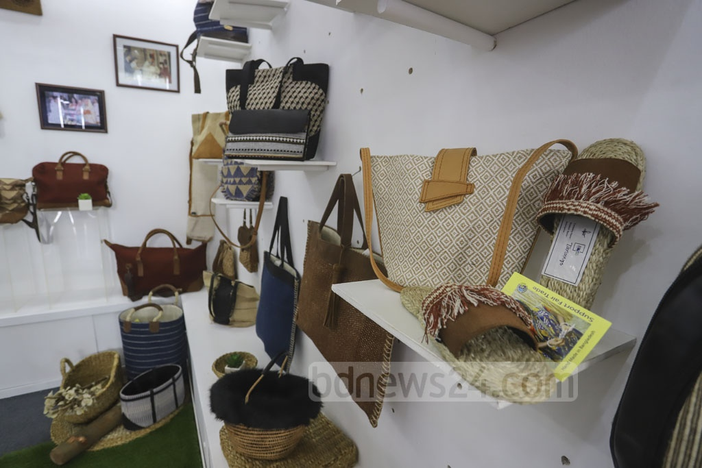 A stall of footwear and other leather goods at BLLISS, a Leathertech fair, at the International Convention City Bashundhara. Photo: Asif Mahmud Ove