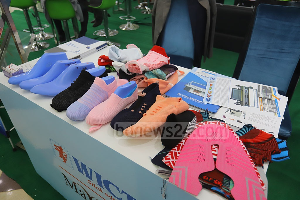Materials needed to make footwear are on display at BLLISS, a Leathertech fair, at the International Convention City Bashundhara. Photo: Asif Mahmud Ove