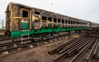 The remains of the burnt carriages in Punjab province on Friday, Nov 1, 2019, a day after one of the deadliest train accidents in Pakistan's history. The New York Times