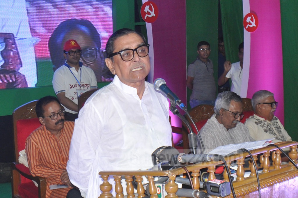 Workers Party President Rashed Khan Menon at the inauguration of its 10th Congress at the Institution of Engineers, Bangladesh in Dhaka on Saturday.