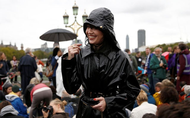 FILE PHOTO: Model Daisy Lowe attends the Extinction Rebellion protest in London, Britain Oct 7, 2019. REUTERS