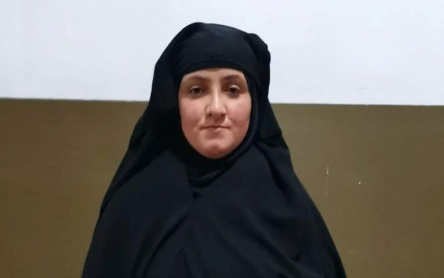 A woman, believed to be the daughter-in-law of Rasmiya Awad, sister of slain Islamic State leader Abu Bakr al-Baghdadi. REUTERS.