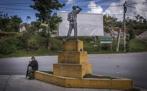A statue in honour of migrants on a road to San Pedro Soloma, in western Guatemala on Aug 24, 2018. The New York Times