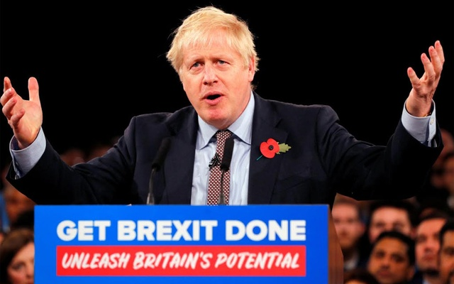 Britain's Prime Minister Boris Johnson speaks during an event launching the Conservative Party's general election campaign in Birmingham, Britain, November 6, 2019. REUTERS