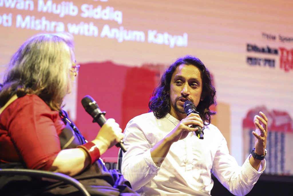 Bangabandhu Sheikh Mujibur Rahman's grandson Radwan Mujib Siddiq speaking about 'Hasina: A Daughter's Tale' after an exhibition of the documentary drama on his aunt Prime Minister Sheikh Hasina's life at Dhaka LitFest at the Bangla Academy on Friday. Photo: Asif Mahmud Ove