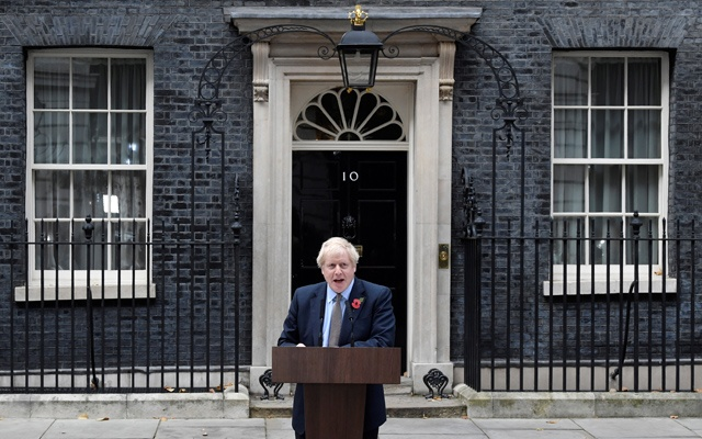 British Prime Minister Boris Johnson makes a statement to announce the general election at Downing Street in London, Britain, November 6, 2019. REUTERS