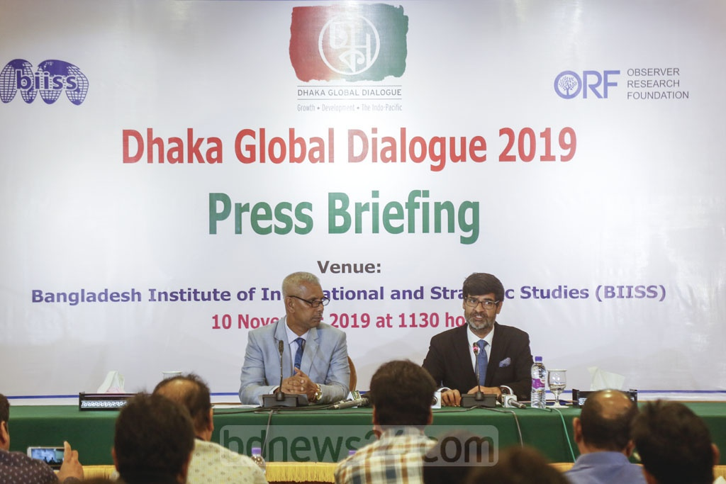 Organisers address a media briefing ahead of the 'Dhaka Global Dialogue 2019' at the Bangladesh Institute of International and Strategic Studies or BIISS auditorium in the capital's Eskaton on Monday. Photo: Mahmud Zaman Ovi