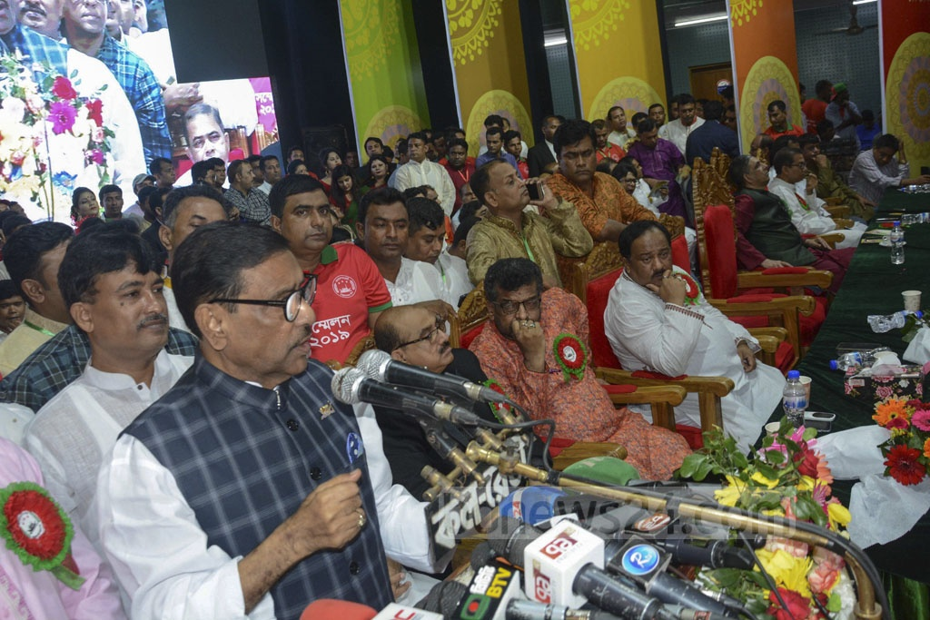 Awami League General Secretary Obaidul Quader speaks at the council of the Swechchasebak League's Dhaka metropolitan south unit at Dhaka's Engineers Institute on Monday.
