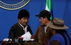 President Evo Morales of Bolivia at a news conference on Sunday, the day he resigned. The New York Times