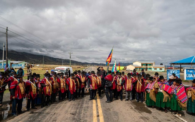 Indigenous people block a road leading into La Paz, Bolivia, to protest the ouster of former President Evo Morales on Tuesday, Nov 12, 2019. Morales stepped down on Sunday under pressure from street protests and the military. The New York Times