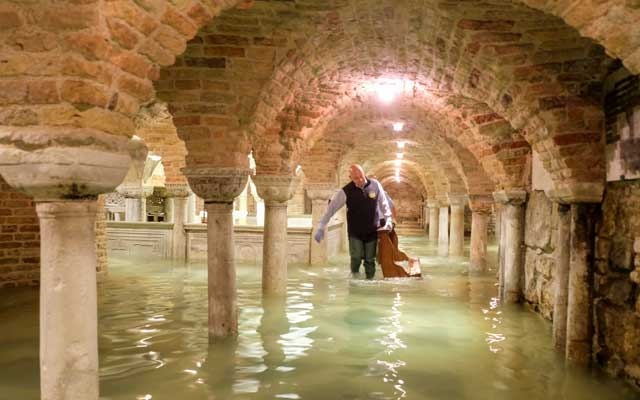 The flooded crypt of St Mark's Basilica is pictured during an exceptionally high water levels in Venice, Italy November 13, 2019. Reuters