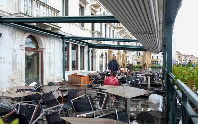 Damages in a hotel after a night of record-high water levels are pictured in Venice, Italy November 13, 2019. Reuters