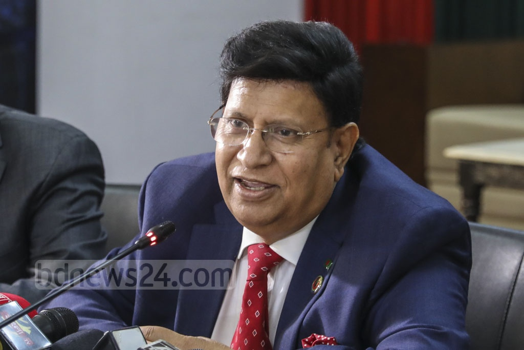 Foreign Minister AK Abdul Momen addressing a media briefing in Dhaka ahead of the Prime Minister Sheikh Hasina's visit to United Arab Emirates on Thursday. Photo: Mostafigur Rahman