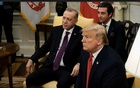 President Donald Trump and President Recep Tayyip Erdogan of Turkey speak with reporters before a bilateral meeting, in the Oval Office of the White House in Washington, on Nov 13, 2019.