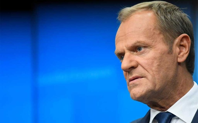 European Council President Donald Tusk looks on during a news conference in Brussels, Belgium, October 18, 2019. Reuters