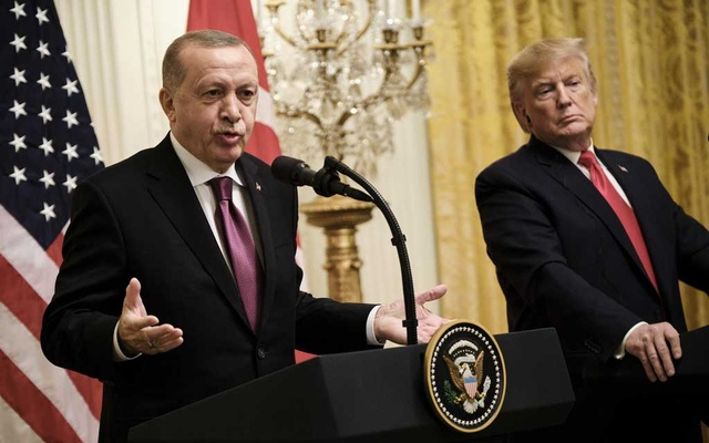 """President Recep Tayyip Erdogan of Turkey and President Donald Trump hold a joint news conference at the White House in Washington, Nov 13, 2019. Erdogan says he returned a letter sent to him last month by Trump that had implored him not to be a """"tough guy"""" or a """"fool"""" as he embarked on an offensive against the Kurds living in northern Syria. (TJ Kirkpatrick/The New York Times)"""