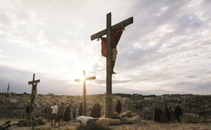 """The crucifixion scene plays out afore """"The New Gospel,"""