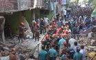 Fire service personnel conducting a rescue drive after a gas pipeline exploded on the ground floor of a building in Patharghata Brick Field Road in Chattogram on Sunday, leaving at least seven people dead. Photo: Suman Babu
