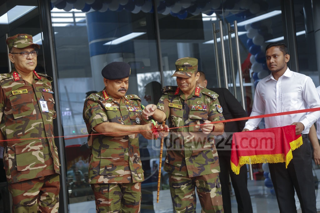 General Aziz Ahmed, chief of army staff, inaugurates the SKS Tower owned by the Army Welfare Trust at Mohakhali, Dhaka. Photo: Mahmud Zaman Ovi